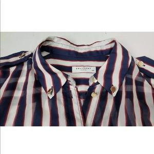 Equipment Striped Silk Button Down Blouse Size S